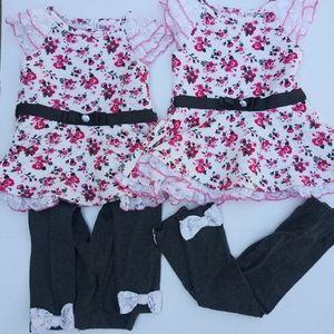 Little lass twins girls matching sets size 3T